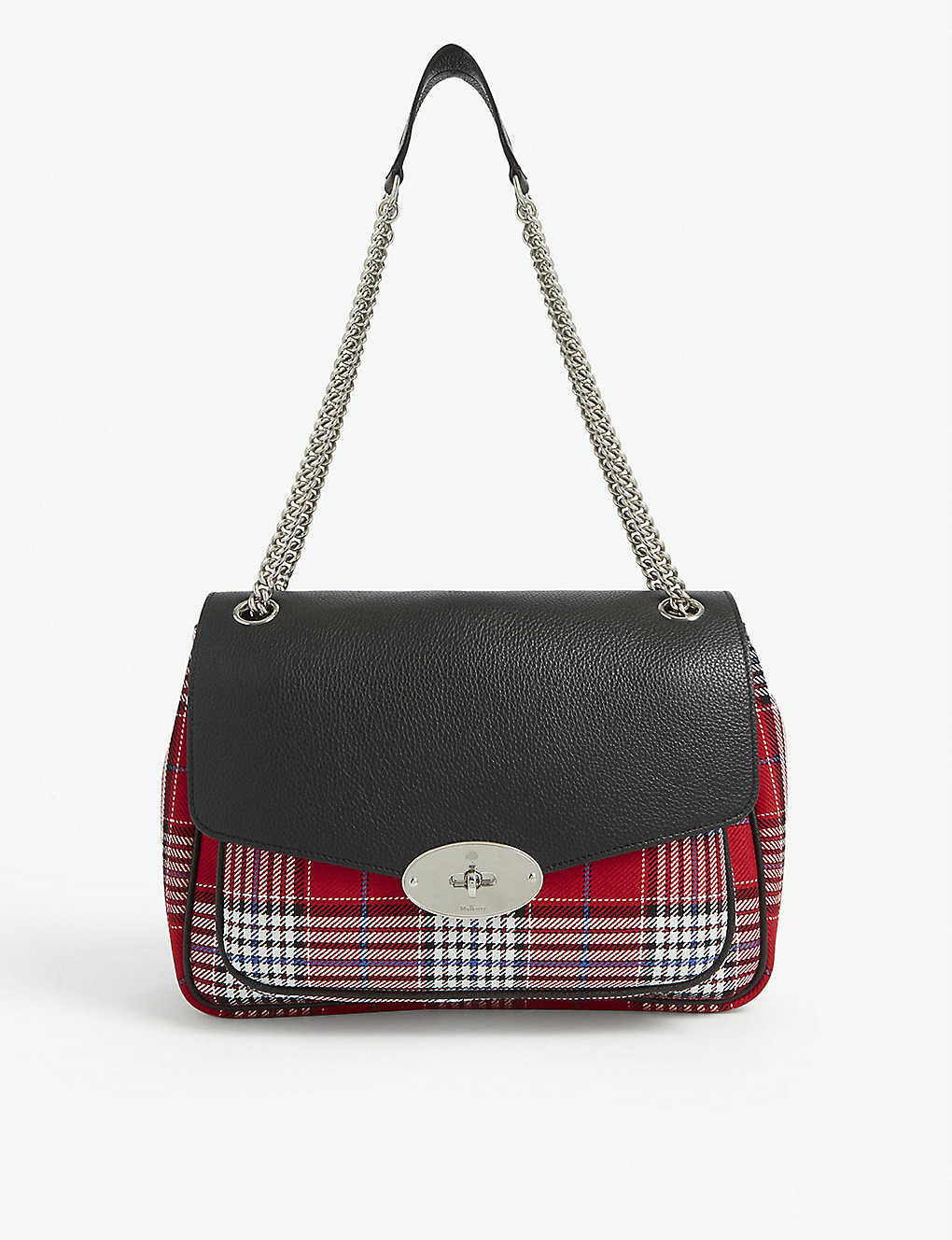 MULBERRY: Darley small leather and tartan shoulder bag
