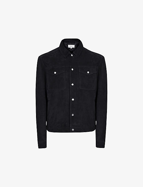 REISS: Jagger suede trucker jacket