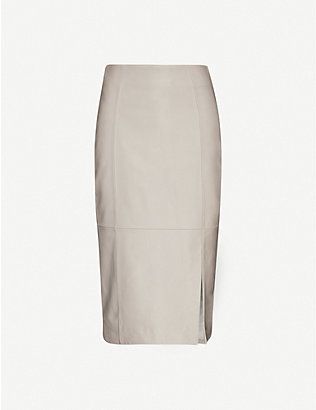 REISS: Grace high-waist leather midi skirt