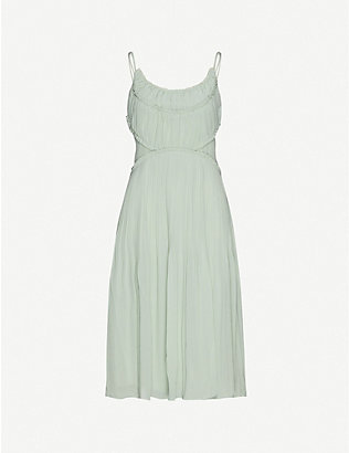 REISS: Pleated-trim scoop-neck chiffon midi dress