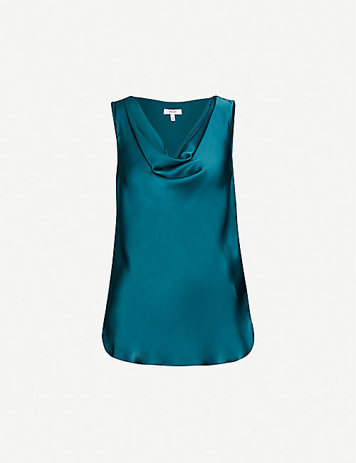 REISS Elle satin-crepe top
