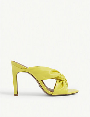 REISS: Ella leather twist front heeled mules
