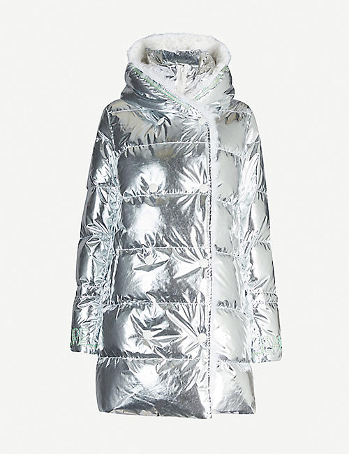 YVES SALOMON Metallic quilted shell-down jacket