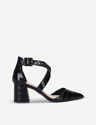 KG KURT GEIGER: Arabella croc-embossed faux-leather courts