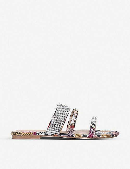 KG KURT GEIGER: Riven snakeskin-print leather sandals