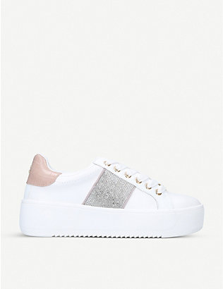 KG KURT GEIGER: Lighter embellished platform trainers