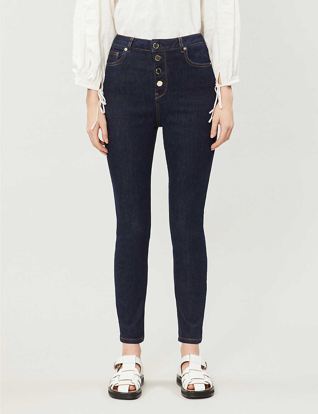 Ted Baker Leppie Button-detail Straight High-rise Jeans In Navy