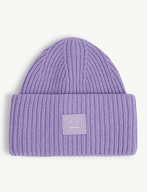 ACNE STUDIOS Pansy face oversized knitted wool beanie