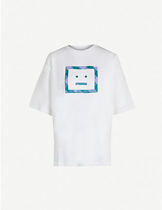 ACNE STUDIOS: Erian face-embroidered cotton-jersey T-shirt