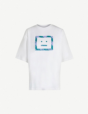 ACNE STUDIOS Erian face-embroidered cotton-jersey T-shirt