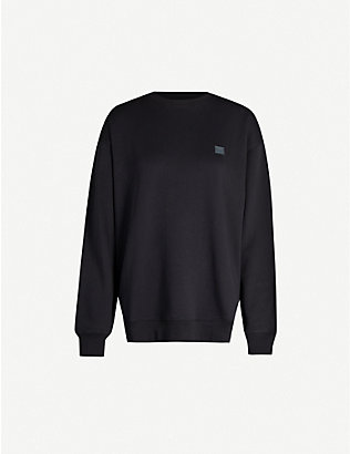 ACNE STUDIOS: Forba face-appliqué round-neck cotton-jersey jumper