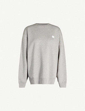 ACNE STUDIOS Forba face-appliqué round-neck cotton-jersey jumper