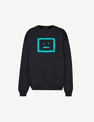 ACNE STUDIOS Forba face-appliqué cotton-jersey sweatshirt