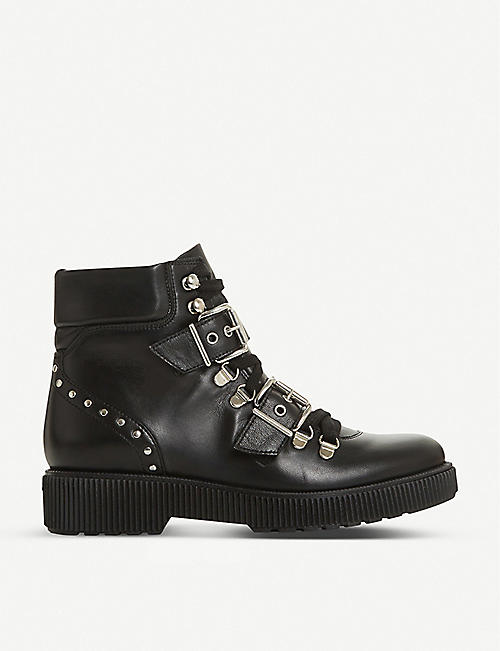 BERTIE Provoked buckle hiker leather platform boots