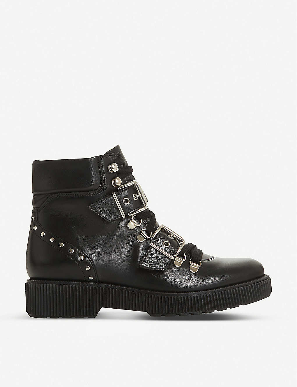 BERTIE: Provoked buckle hiker leather platform boots