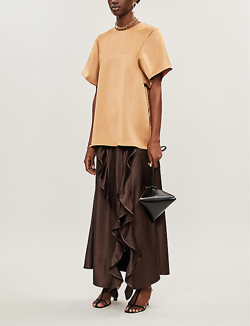 CAMILLA AND MARC Aubrey round-neck satin-crepe T-shirt