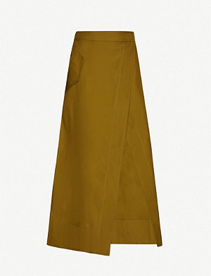 CAMILLA AND MARC Benson wrap-over cotton-canvas midi skirt