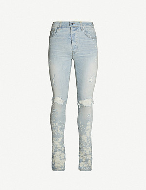 AMIRI Bleach-splattered skinny stretch-denim jeans