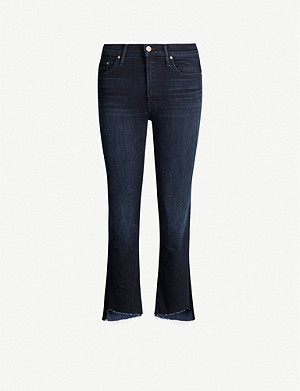 MOTHER The Insider frayed flared high-rise stretch-denim jeans