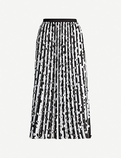 TED BAKER Dotty polka dot-print pleated crepe midi skirt