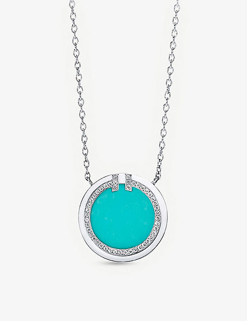 TIFFANY & CO: Tiffany T Circle 18ct white-gold, turquoise and 0.05ct diamond pendant necklace