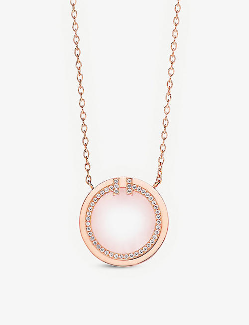TIFFANY & CO: Tiffany T Circle 18ct rose-gold, opal and 0.05ct diamond pendant necklace