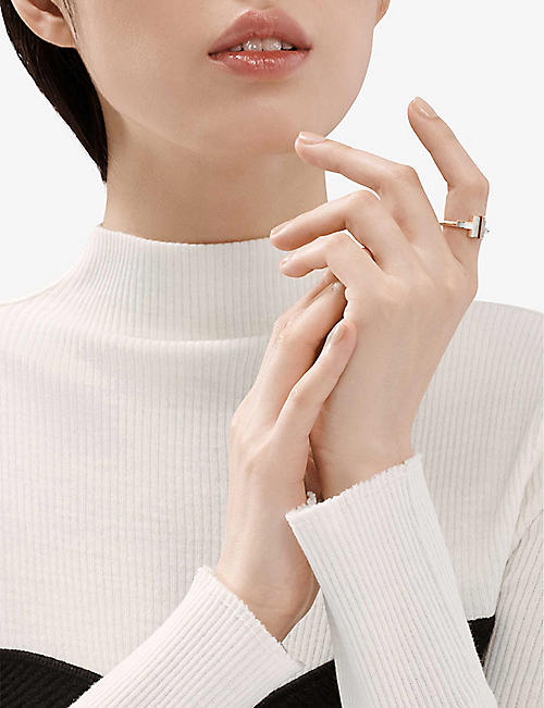 TIFFANY & CO Tiffany T Square 18ct rose-gold and mother-of-pearl ring