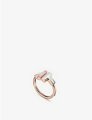 TIFFANY & CO: Tiffany T Square 18ct rose-gold and mother-of-pearl ring