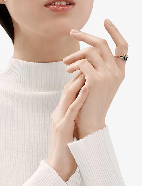TIFFANY & CO Tiffany T Square 18ct rose-gold and onyx ring