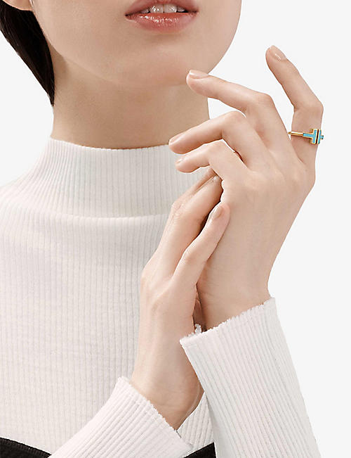 TIFFANY & CO Tiffany T Square 18ct rose-gold and tuquoise ring