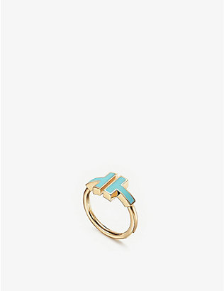 TIFFANY & CO: Tiffany T Square 18ct rose-gold and tuquoise ring