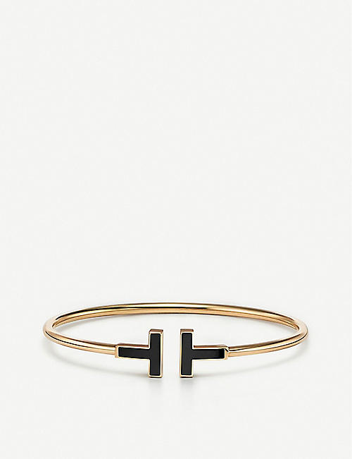 TIFFANY & CO Tiffany T 18ct yellow-gold and onyx bracelet