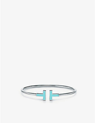 TIFFANY & CO: Tiffany T 18ct white-gold and turquoise bracelet