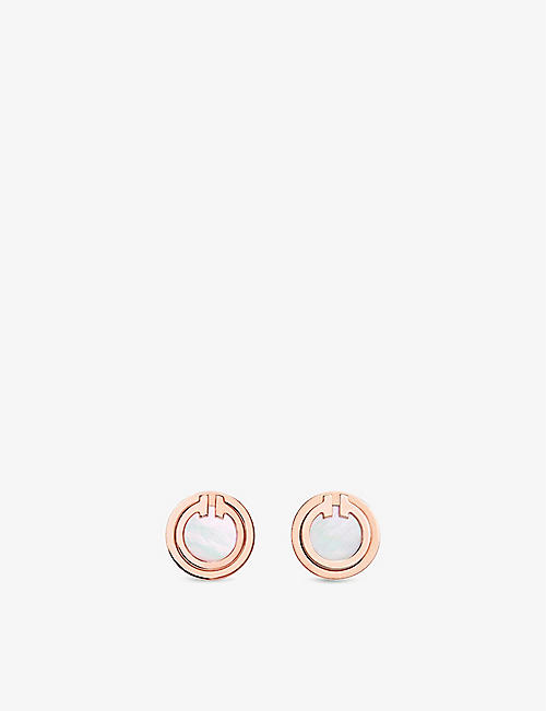 TIFFANY & CO Tiffany T 18ct rose-gold and mother-of-pearl earrings