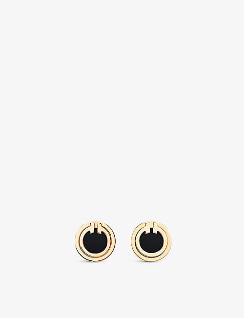 TIFFANY & CO Tiffany T 18ct yellow-gold and onyx earrings