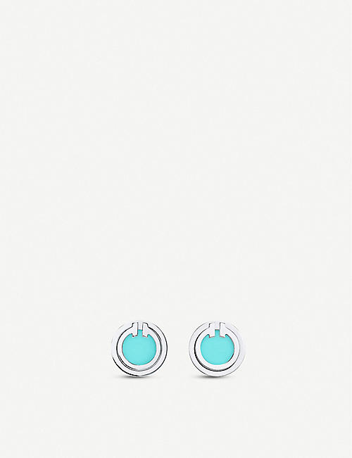 TIFFANY & CO Tiffany T 18ct white-gold and turquoise earrings