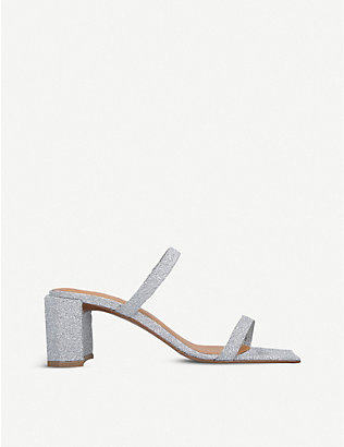 BY FAR: Tanya glittered leather heeled mules