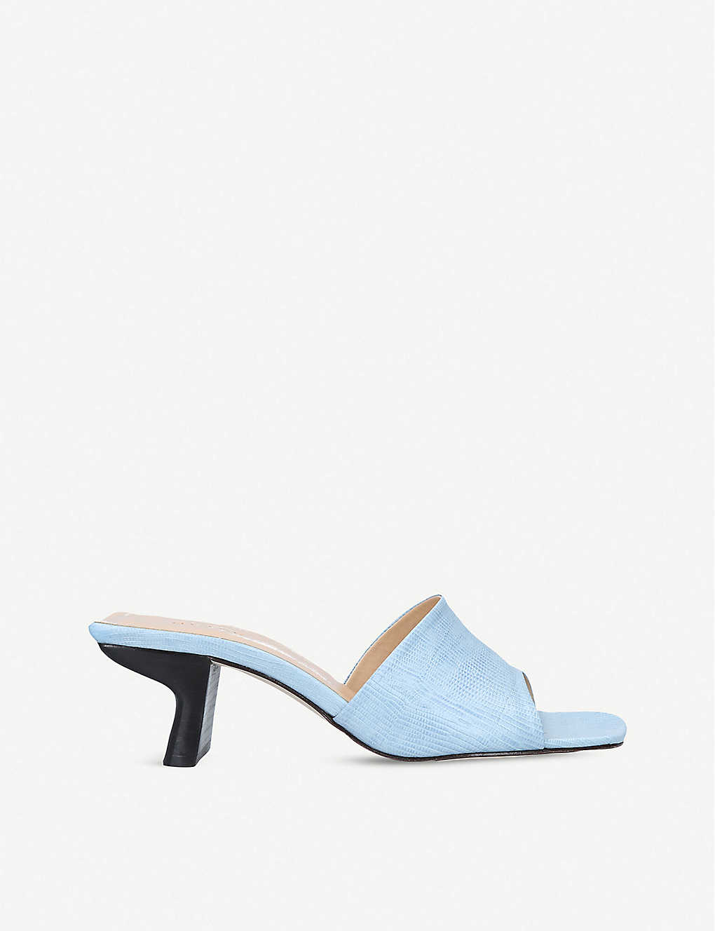BY FAR: Lily lizard-embossed leather heeled mules