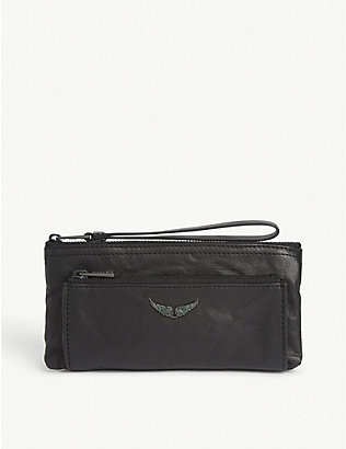 ZADIG&VOLTAIRE: Metal logo leather clutch