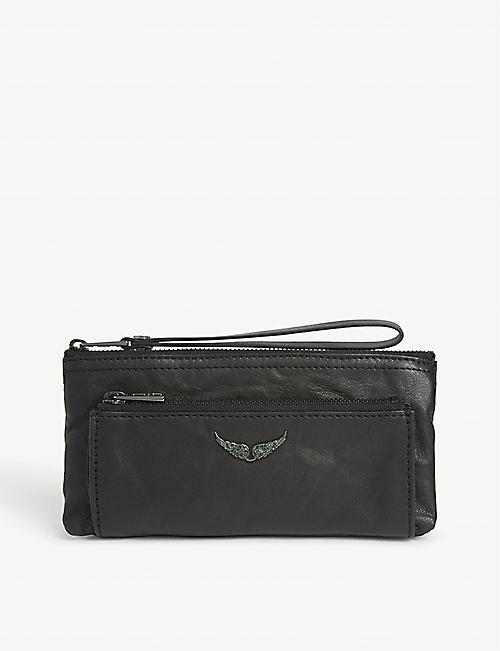 ZADIG&VOLTAIRE Metal logo leather clutch