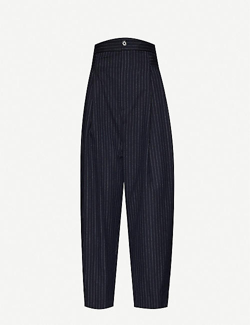 DANIEL POLLITT: Pinstripe tapered high-rise wool-twill trousers