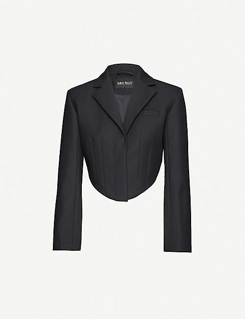 DANIEL POLLITT: Cropped single-breasted twill blazer