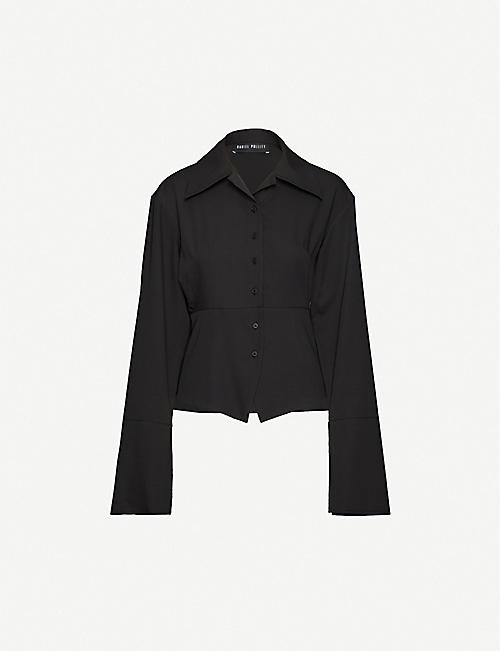 DANIEL POLLITT Band-collar cotton-poplin shirt