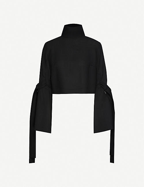 DANIEL POLLITT Funnel-neck wool-crepe top