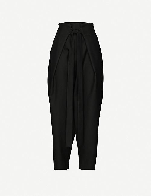 DANIEL POLLITT: Tie-belt tapered high-rise wool trousers