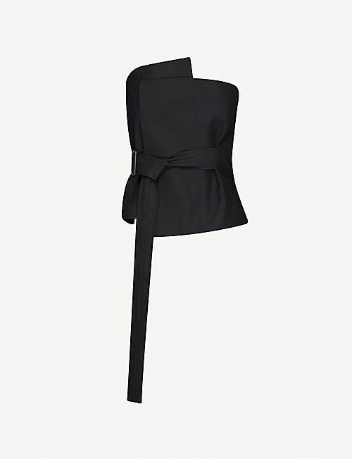 DANIEL POLLITT: Asymmetric belted wool corset top