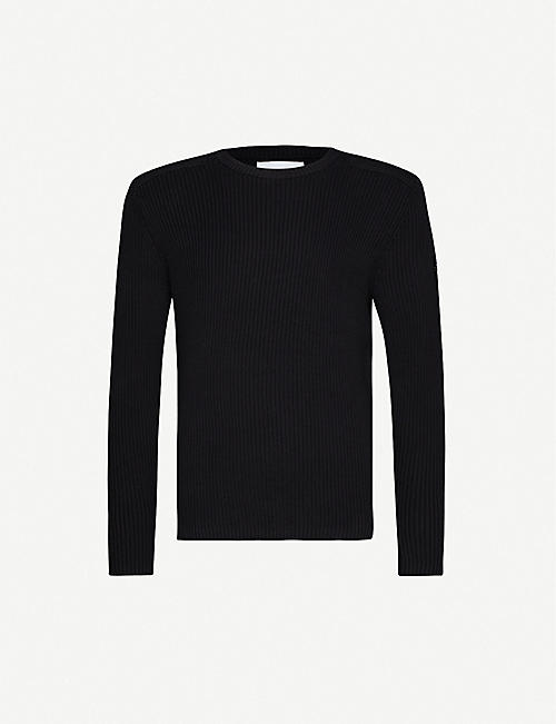 CK JEANS: Ribbed cotton-knit and cotton-twill jumper
