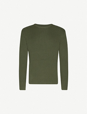 CK JEANS Ribbed cotton-knit and cotton-twill jumper