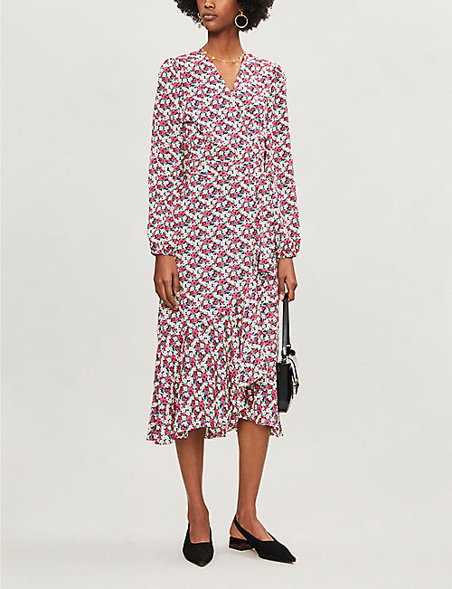 KITRI Floral-print crepe midi wrap dress