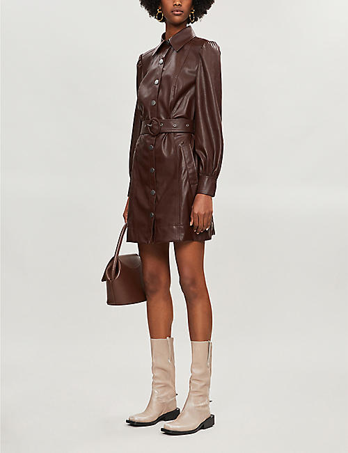 KITRI Button-through faux-leather mini dress